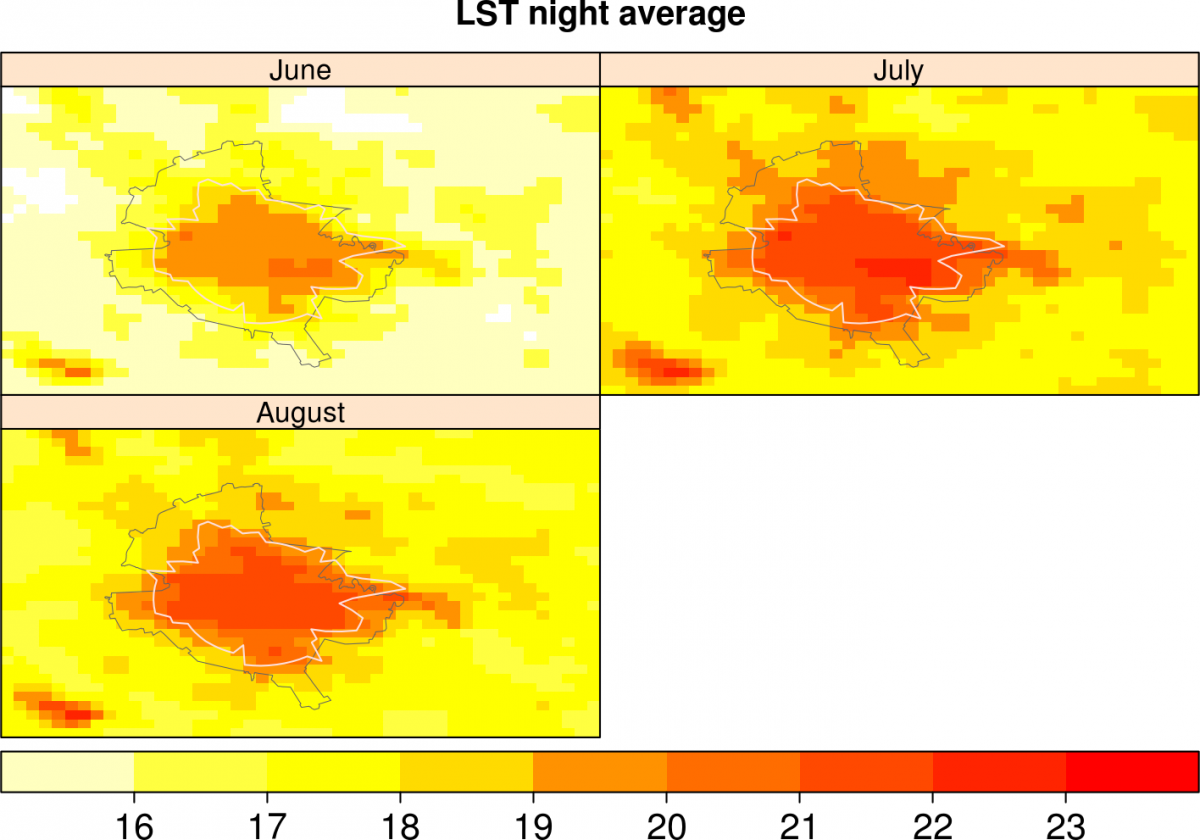 MODIS land surface temperature multi-annual mean Bucharest 2000-2013